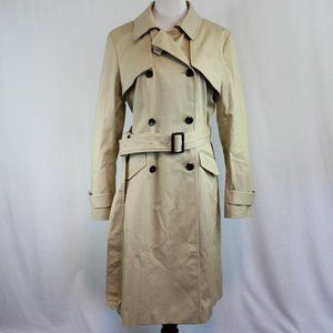 Ann Taylor Beige Trench Coat Long Fabric Belted
